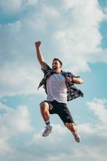 Man celebrating winning